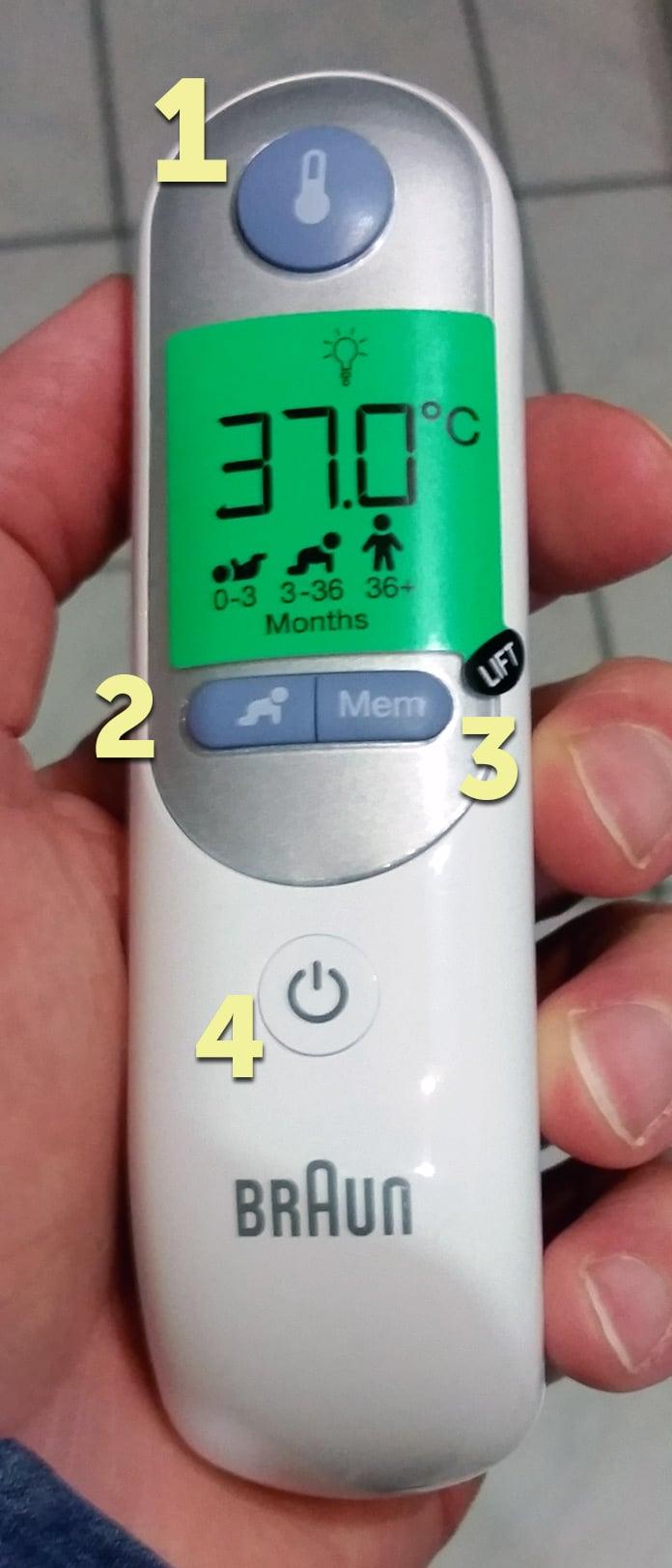 Braun Thermoscan 7 Bedienelemente